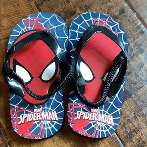 Spider-Man flip flops.  Toddler size 9/10
